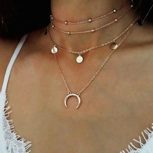Jewelry - 4 for $25 crescent moon horn sequin coin choker